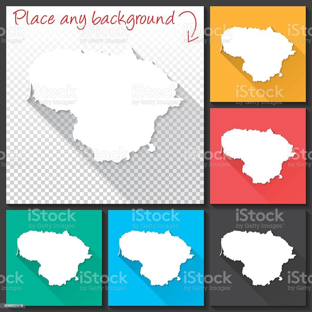 Lithuania Map for design, Long Shadow, Flat Design vector art illustration