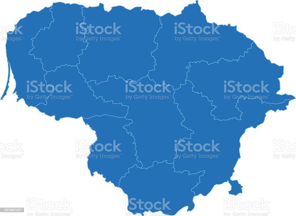 Lithuania simple blue map on white background vector art illustration