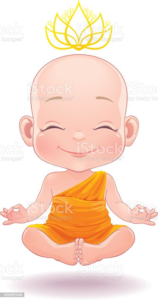 Litte Buddha vector art illustration