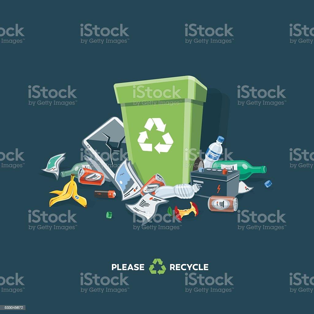 Littering Garbage around the Trash Bin Isolated on Dark Background vector art illustration