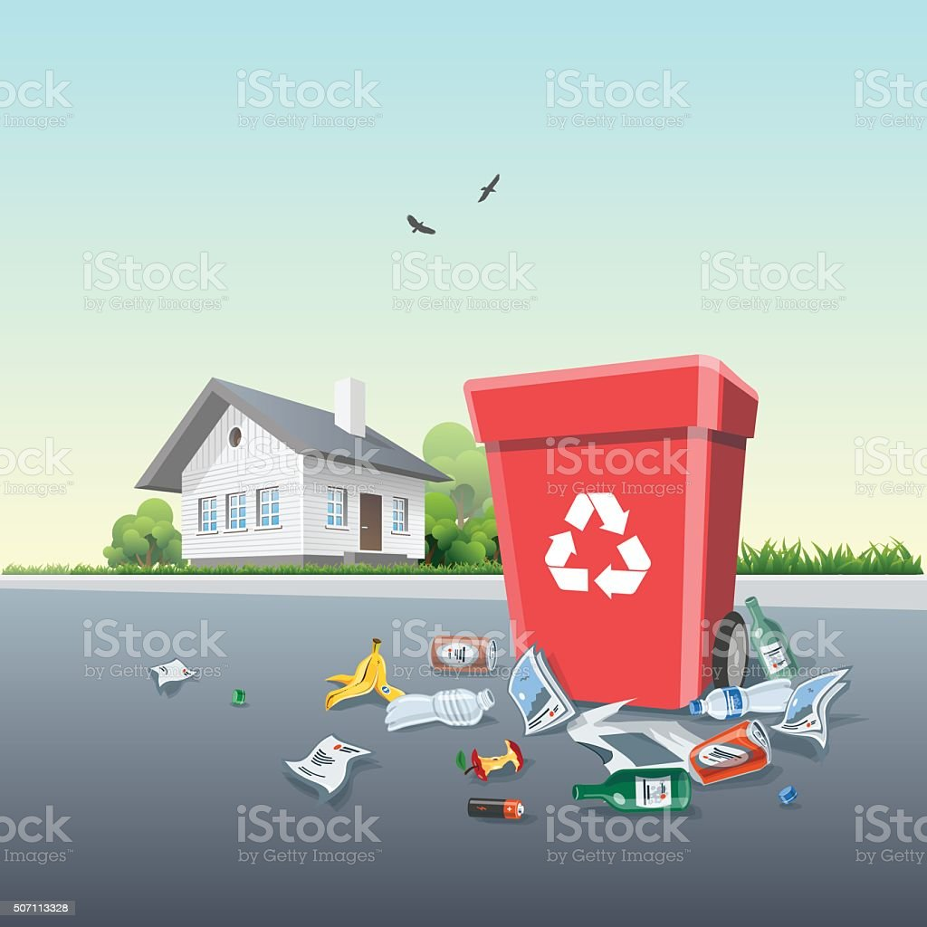 Littering Garbage around the Trash Bin outside of a House vector art illustration