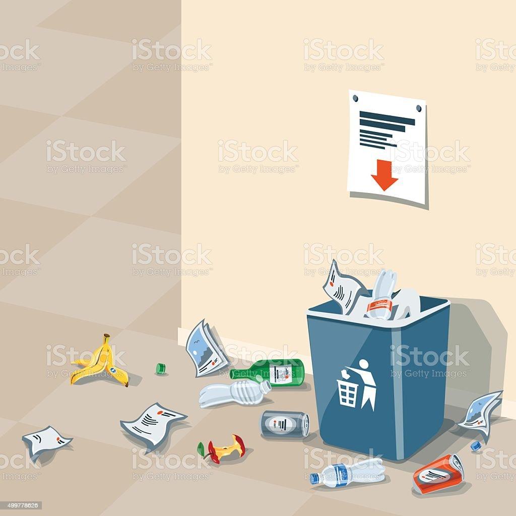 Littering Garbage around the Trash Bin vector art illustration