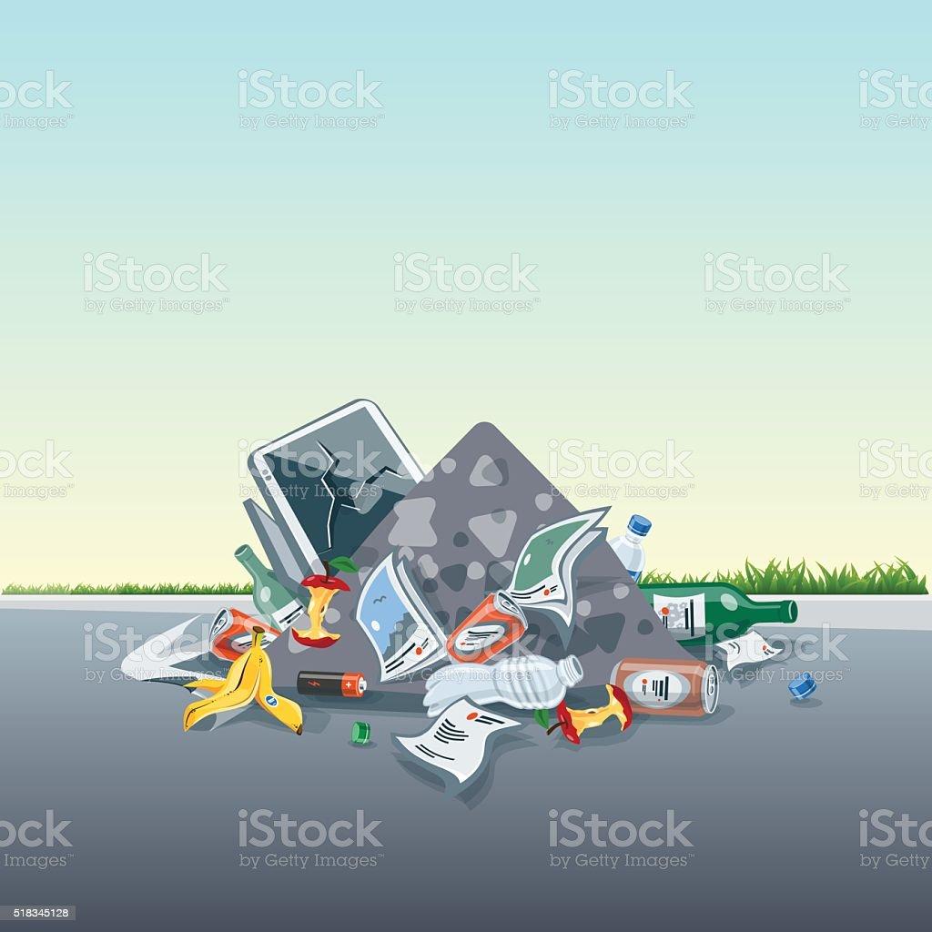 Littering Garbage Trash Stack on the Street Road vector art illustration