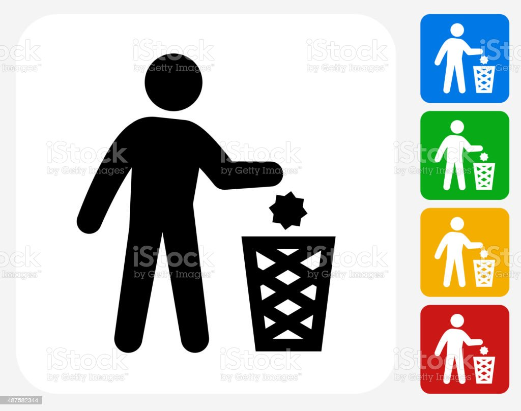 Littering Icon Flat Graphic Design vector art illustration