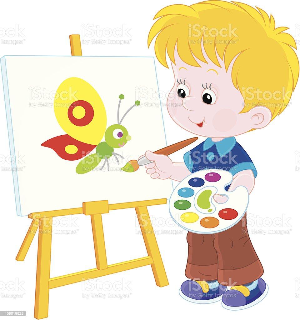 Little artist draws vector art illustration