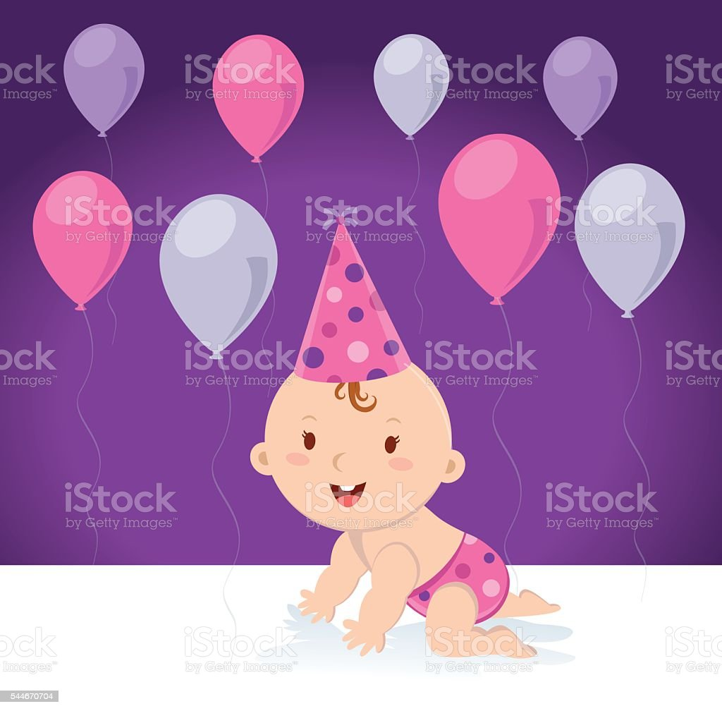 Little baby girl with balloons vector art illustration