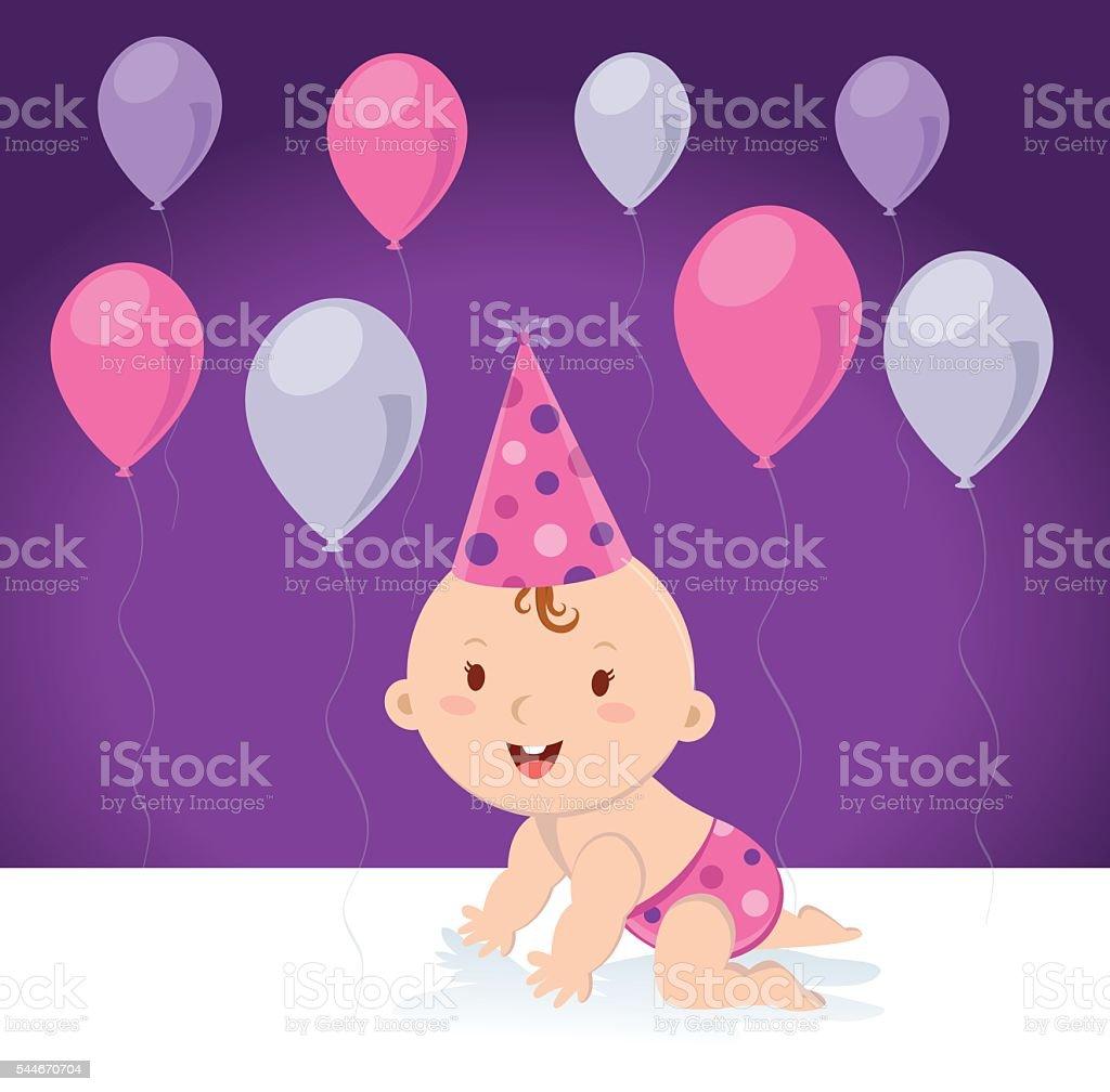 Little baby girl with balloons vector art illustration
