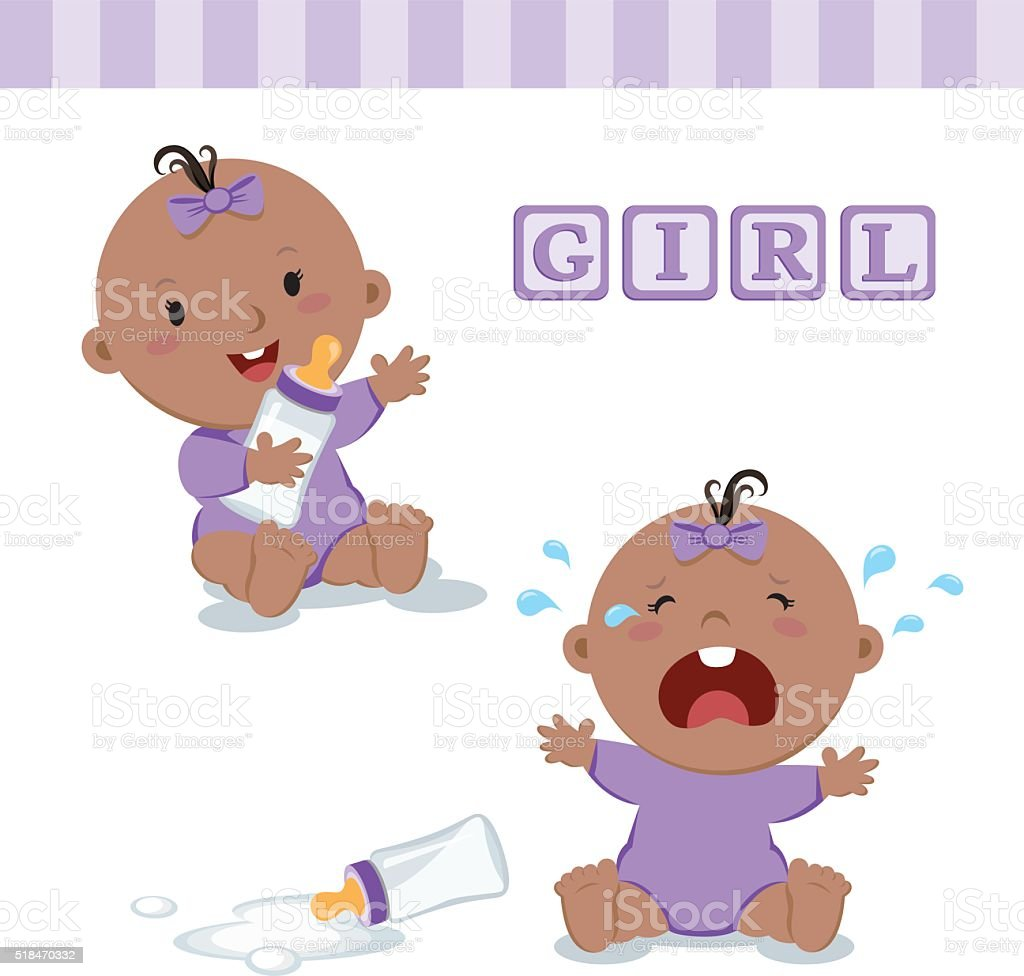 Little baby girl with milk bottle vector art illustration