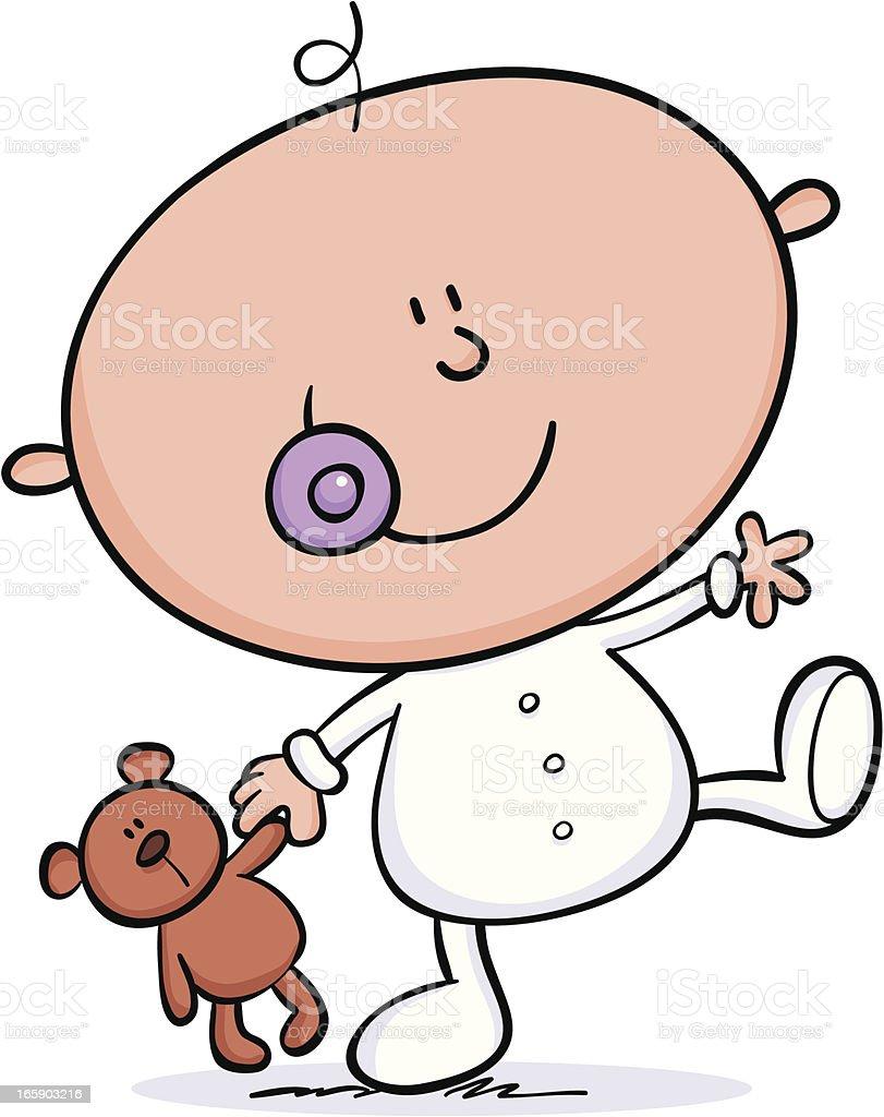 Little Baby & Teddy vector art illustration