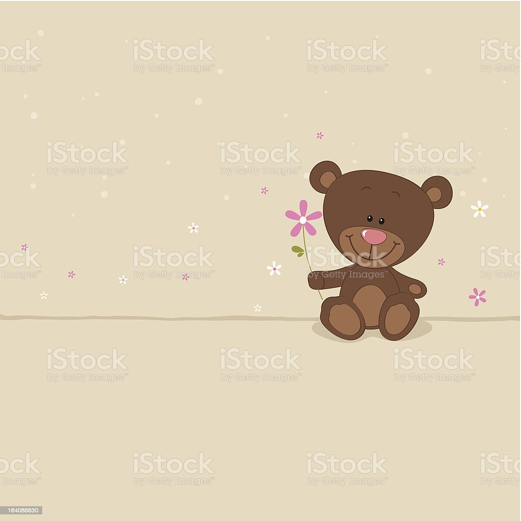 Little bear with pink flower vector art illustration