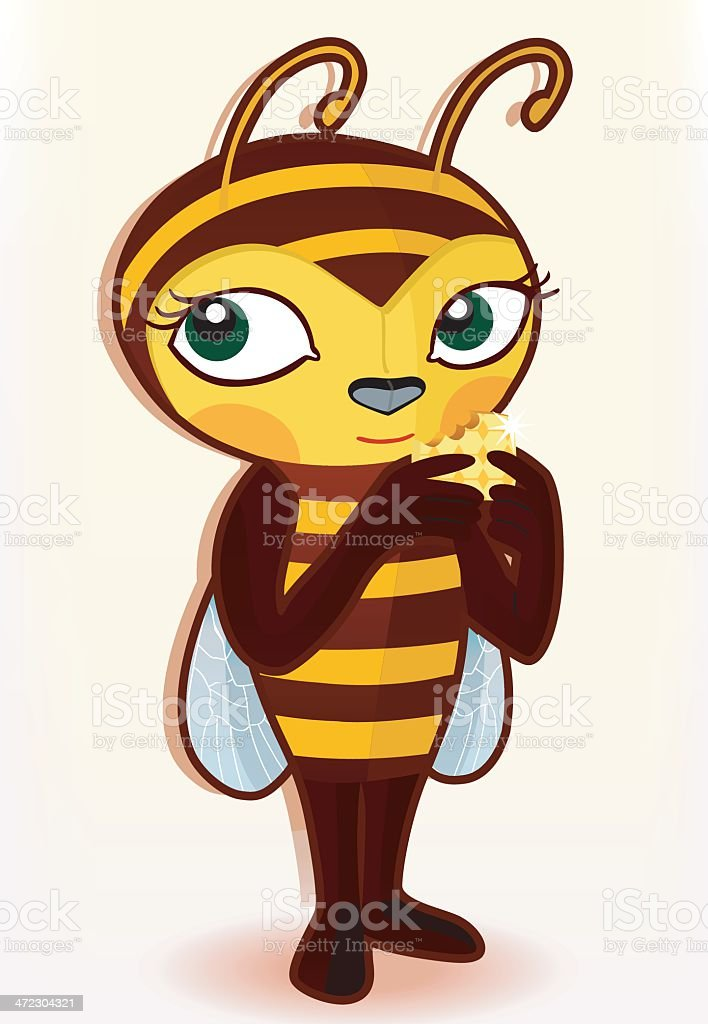 little bee with honeycomb. royalty-free stock vector art