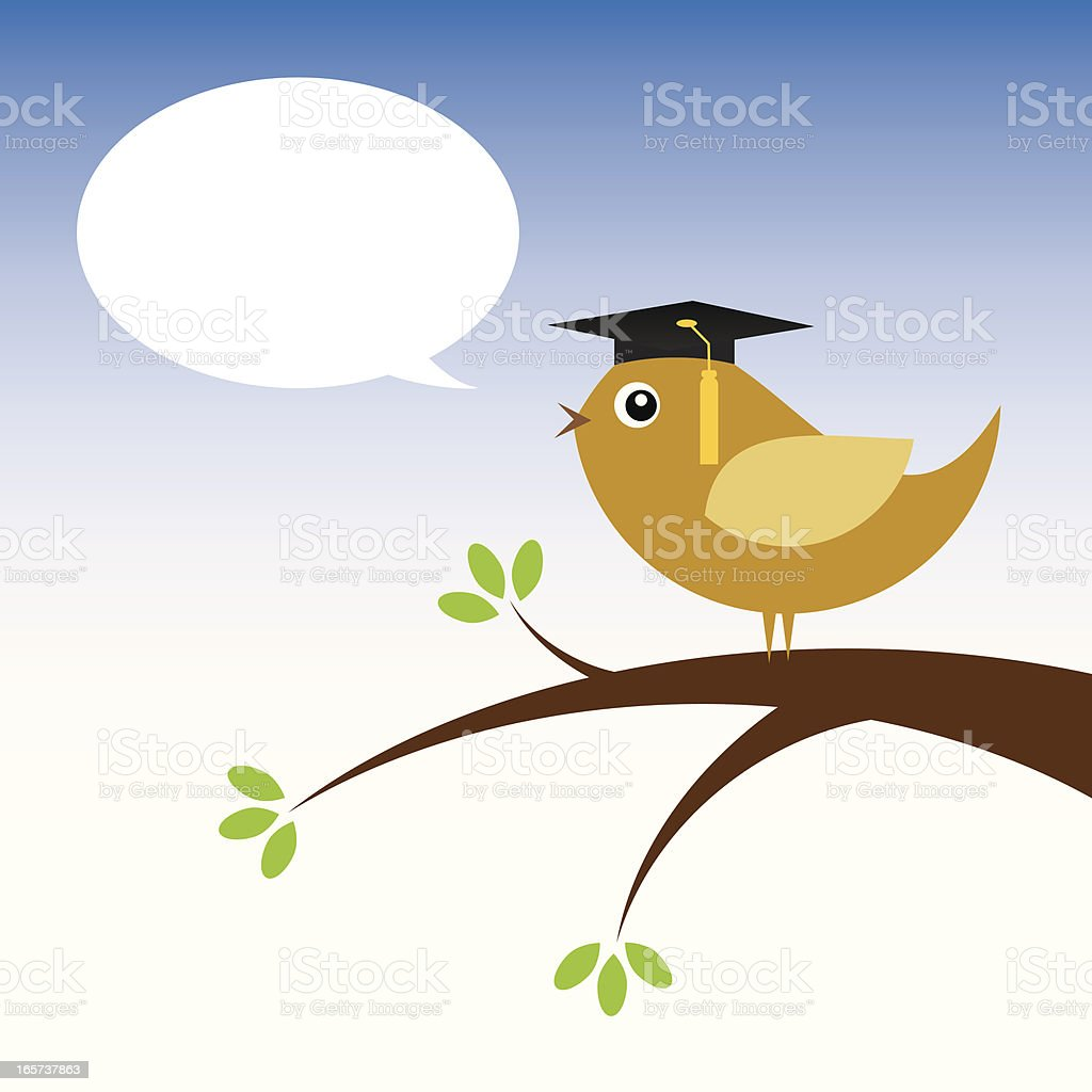 Little Bird Graduating royalty-free stock vector art