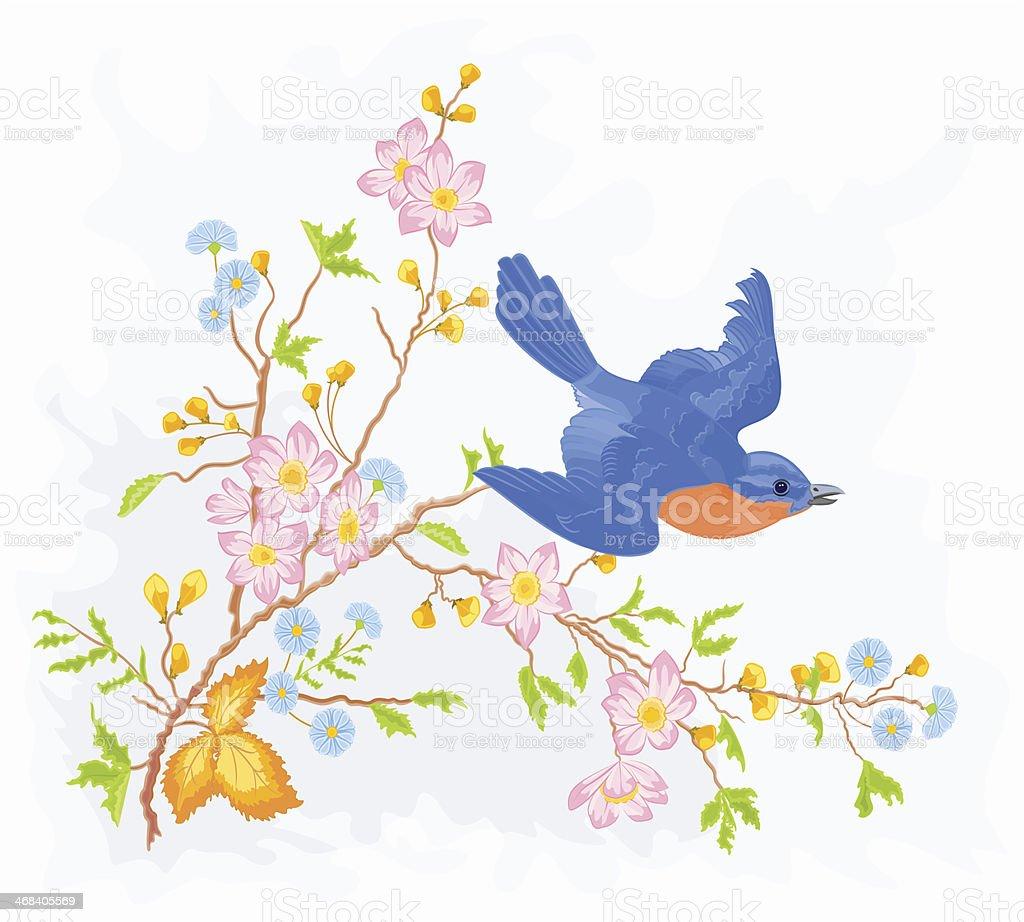 Little bird in flight in a flower bush vector art illustration