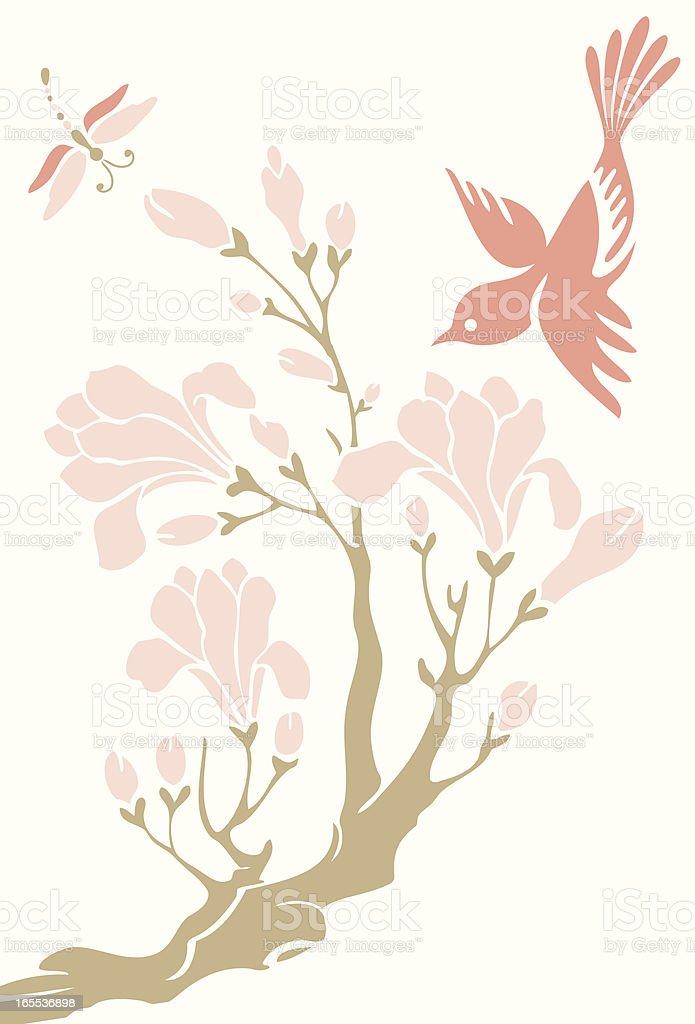 Little Bird, Magnolia & Dragonfly vector art illustration