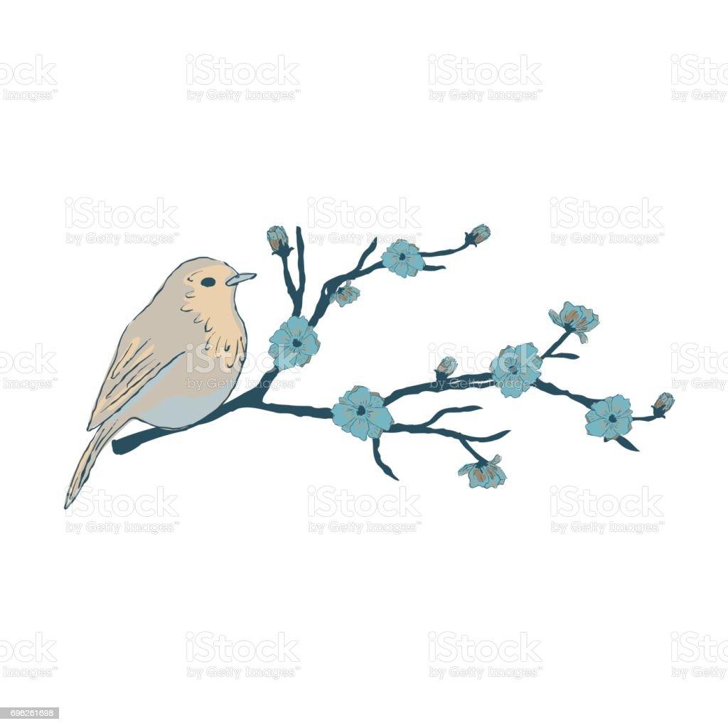 A Little Bird on an Sakura Branch. vector art illustration