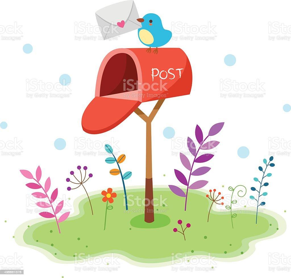 Little bird Postman vector art illustration