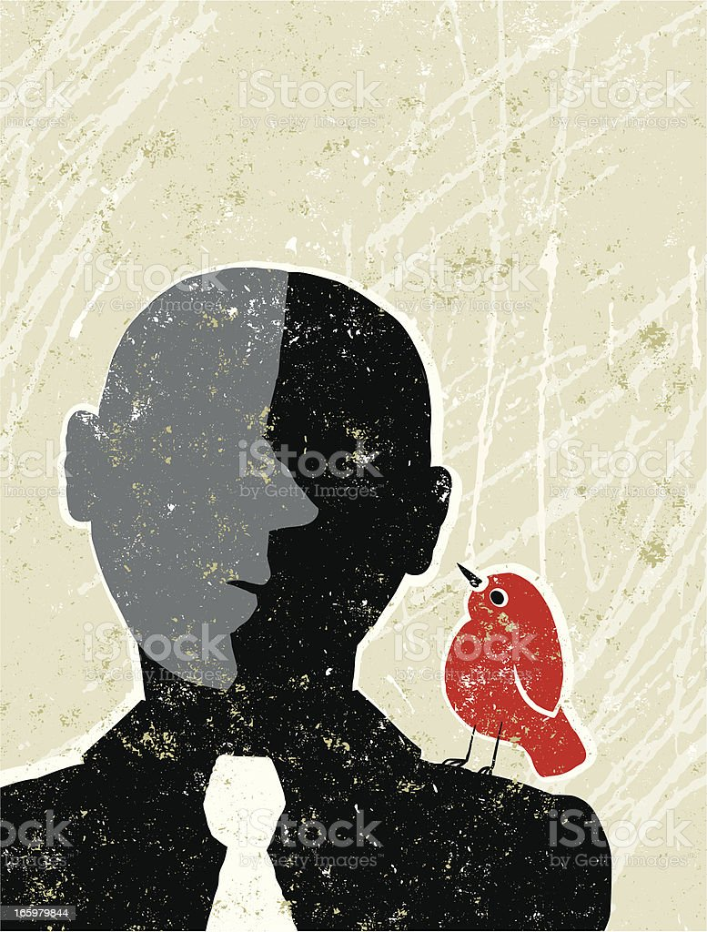 Little Bird Talking to a Business Man vector art illustration