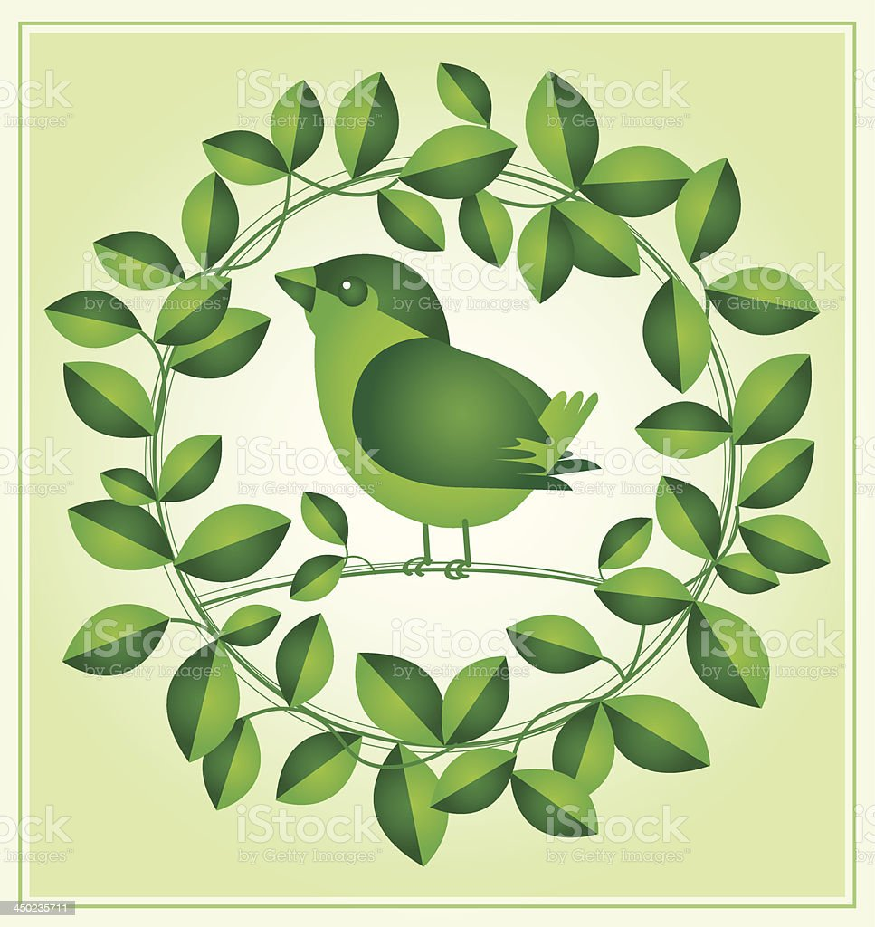Little Bird with green leaf royalty-free stock vector art
