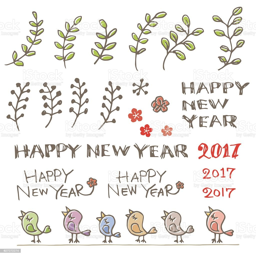 Little birds, plant and new year greeting words vector art illustration