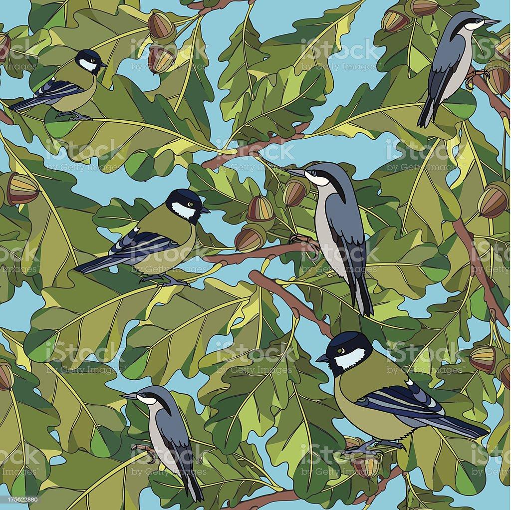 Little birds sing songs. Seamless texture. royalty-free stock vector art