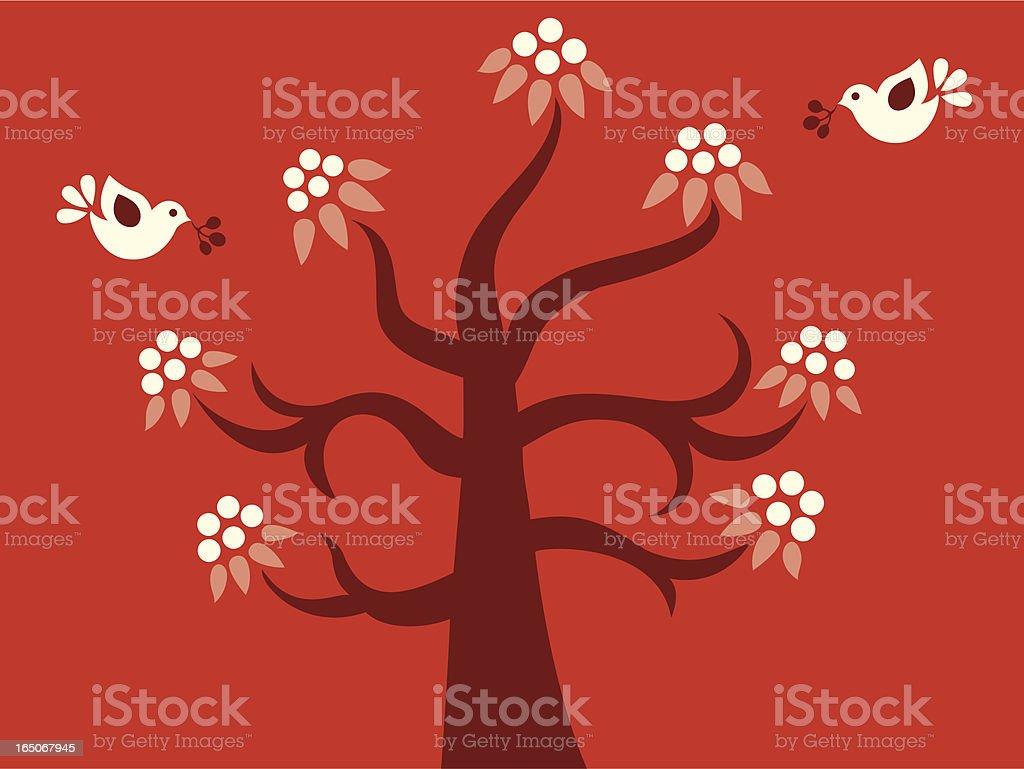 Little Birds & Tree Delight royalty-free stock vector art