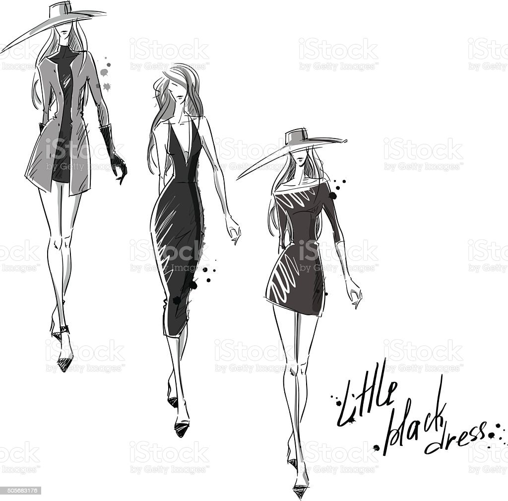 Little black dress. Fashion illustration royalty-free stock vector art