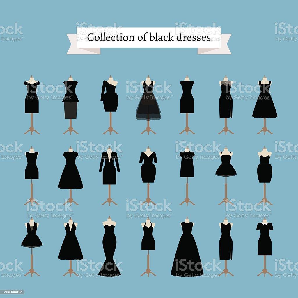 Little black dresses vector art illustration