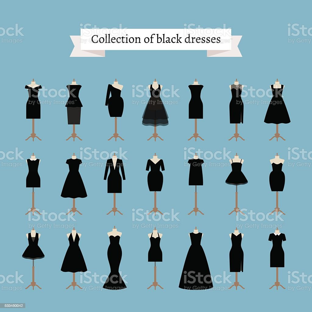 Little black dresses vector art illustration