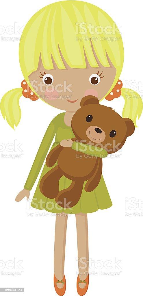 Little blond girl royalty-free stock vector art