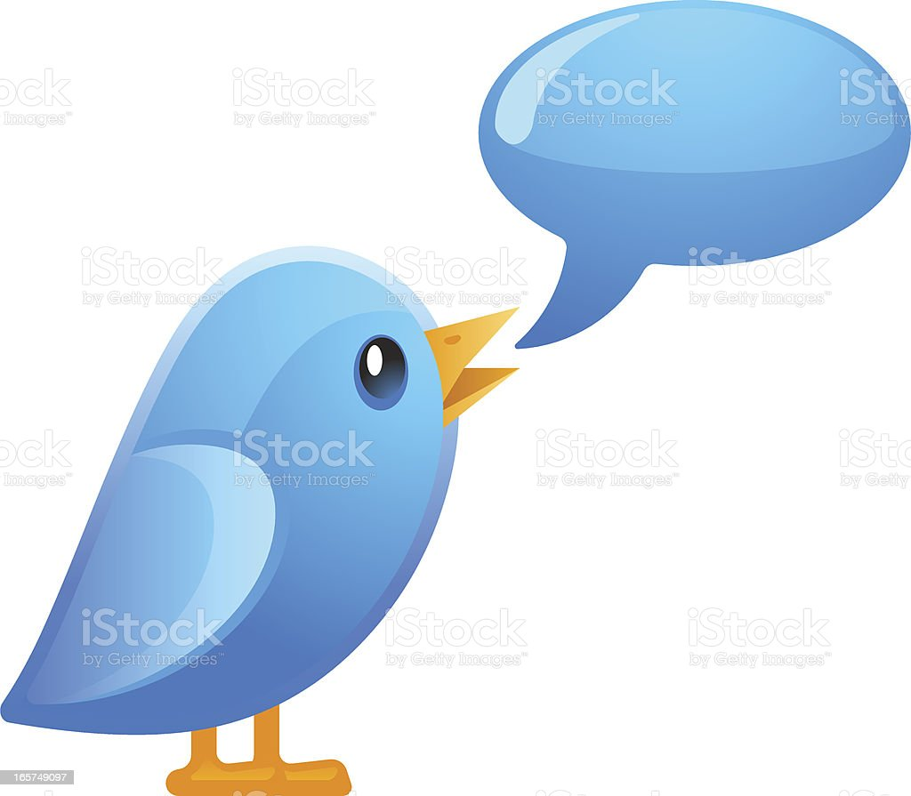 Little blue bird speaking up vector art illustration
