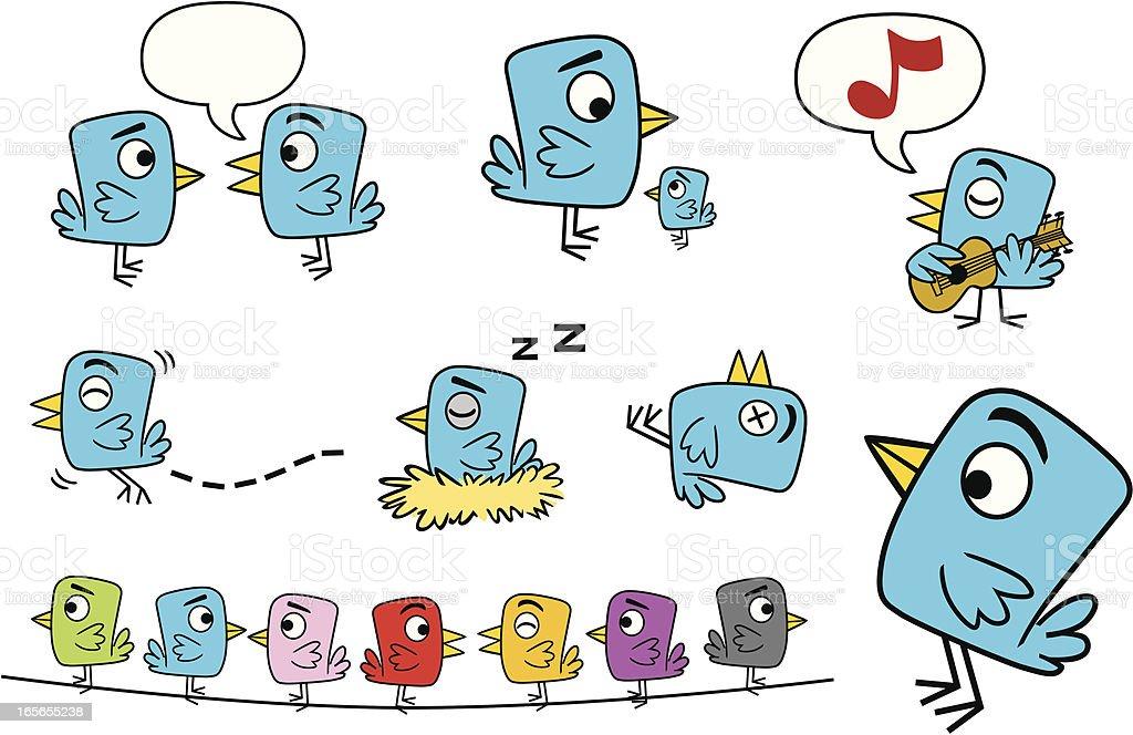 Little Blue Bird vector art illustration