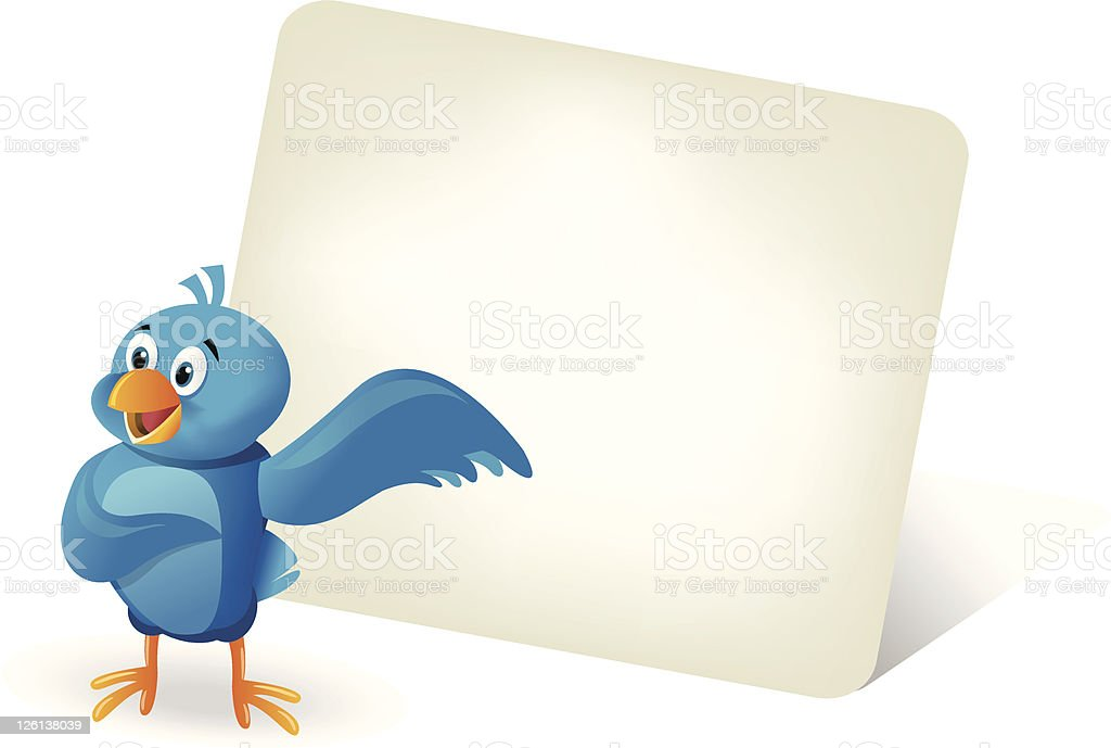 Little blue bird with board royalty-free stock vector art