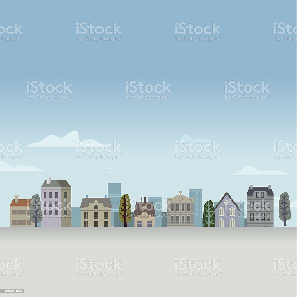 Little Blue Town royalty-free stock vector art