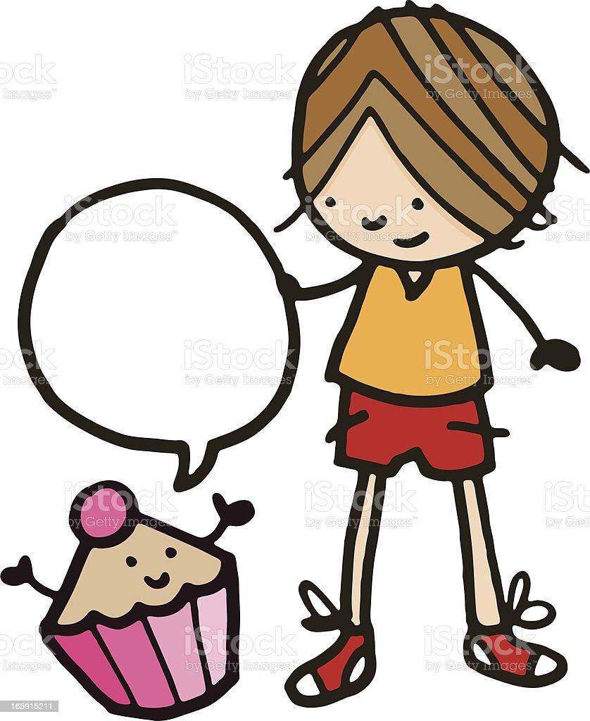 Little boy and cupcake vector art illustration