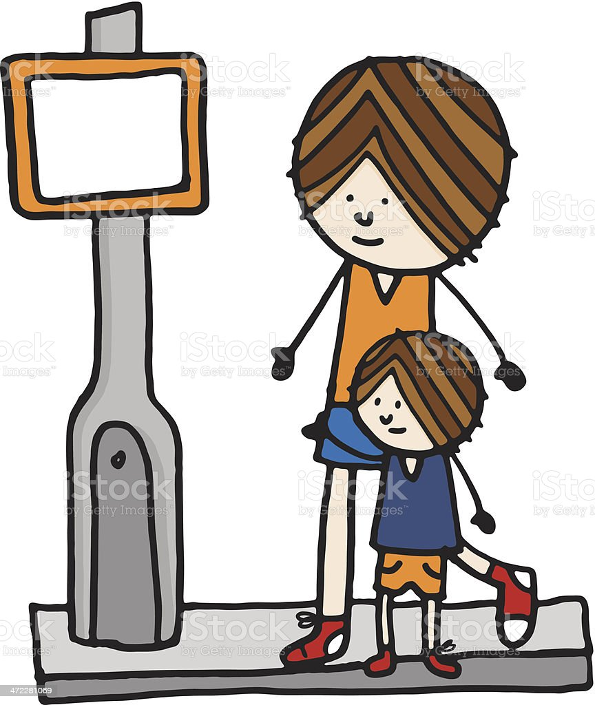 Little boy and father crossing the road vector art illustration