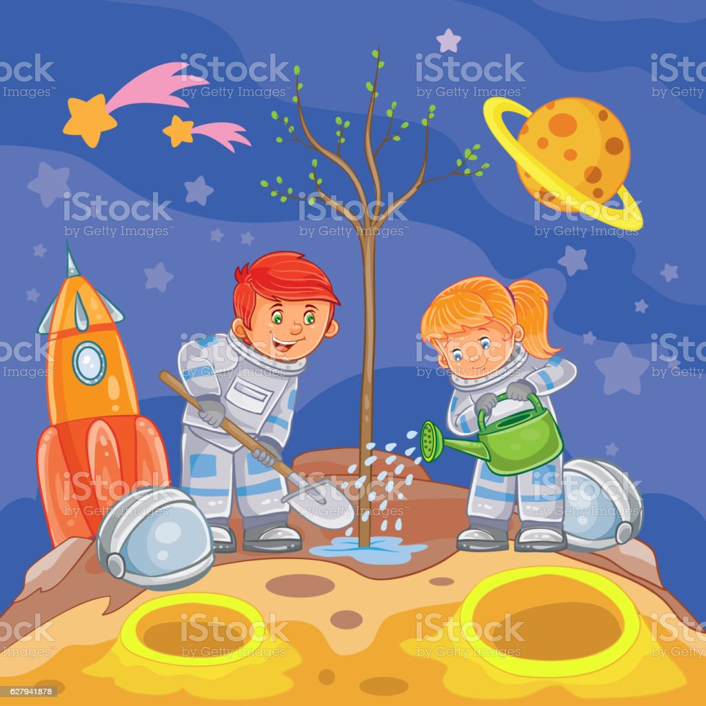 Little boy and girl astronauts planting a tree vector art illustration