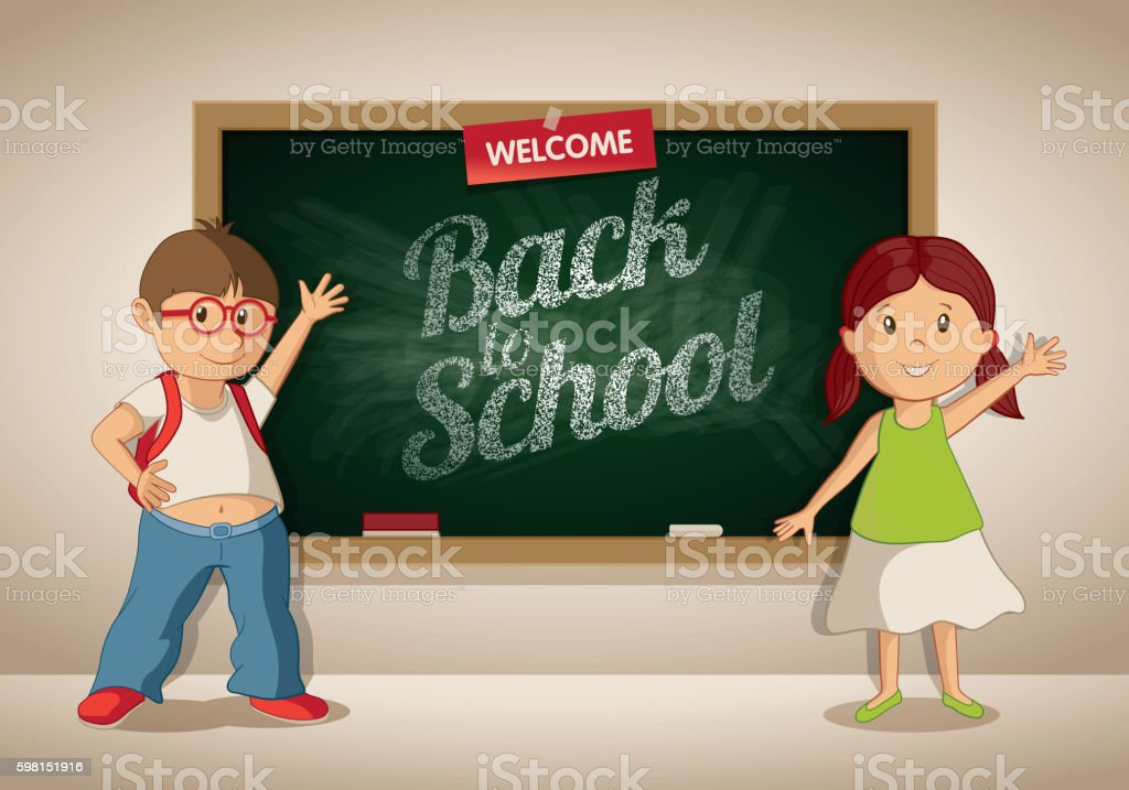 Little boy and girl at the blackboard in the classroom. vector art illustration