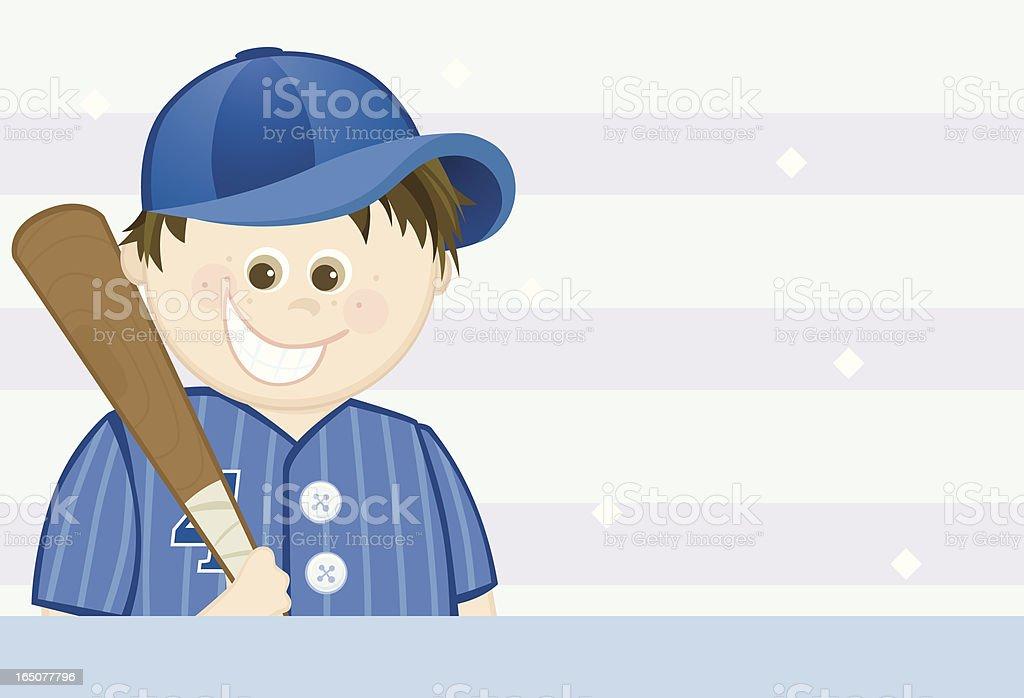 Little Boy Baseball Player vector art illustration