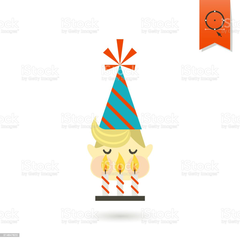 Little Boy Blowing Out Candles vector art illustration