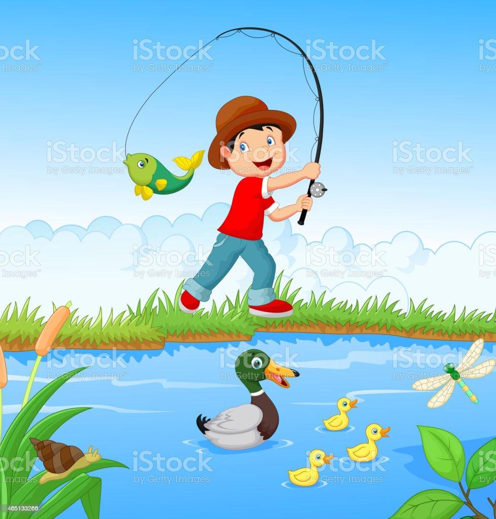 рисунок рыбак ловящий рыбу