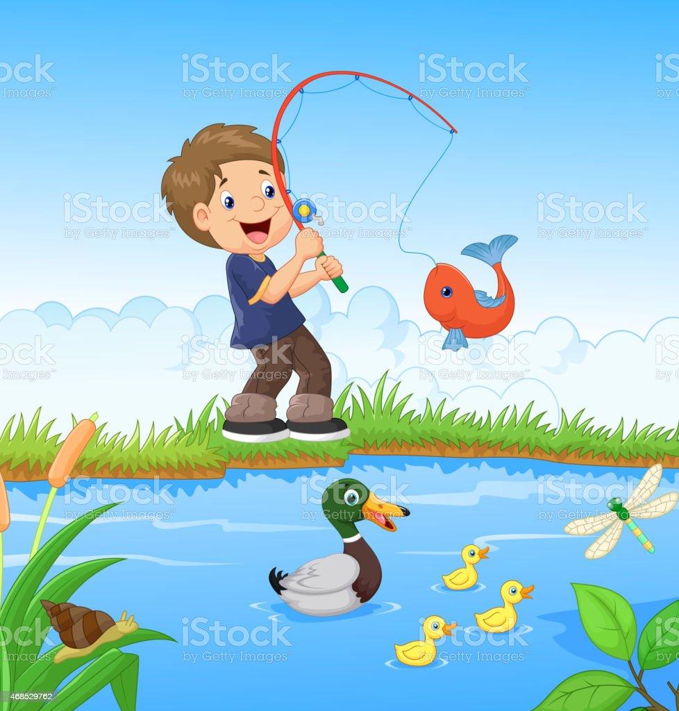 картинки мальчик ловит рыбку