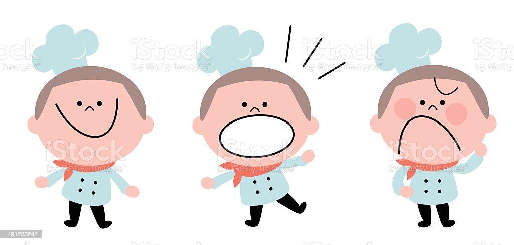 Little boy chef in uniform, emotion set, crew cut hairstyle vector art illustration