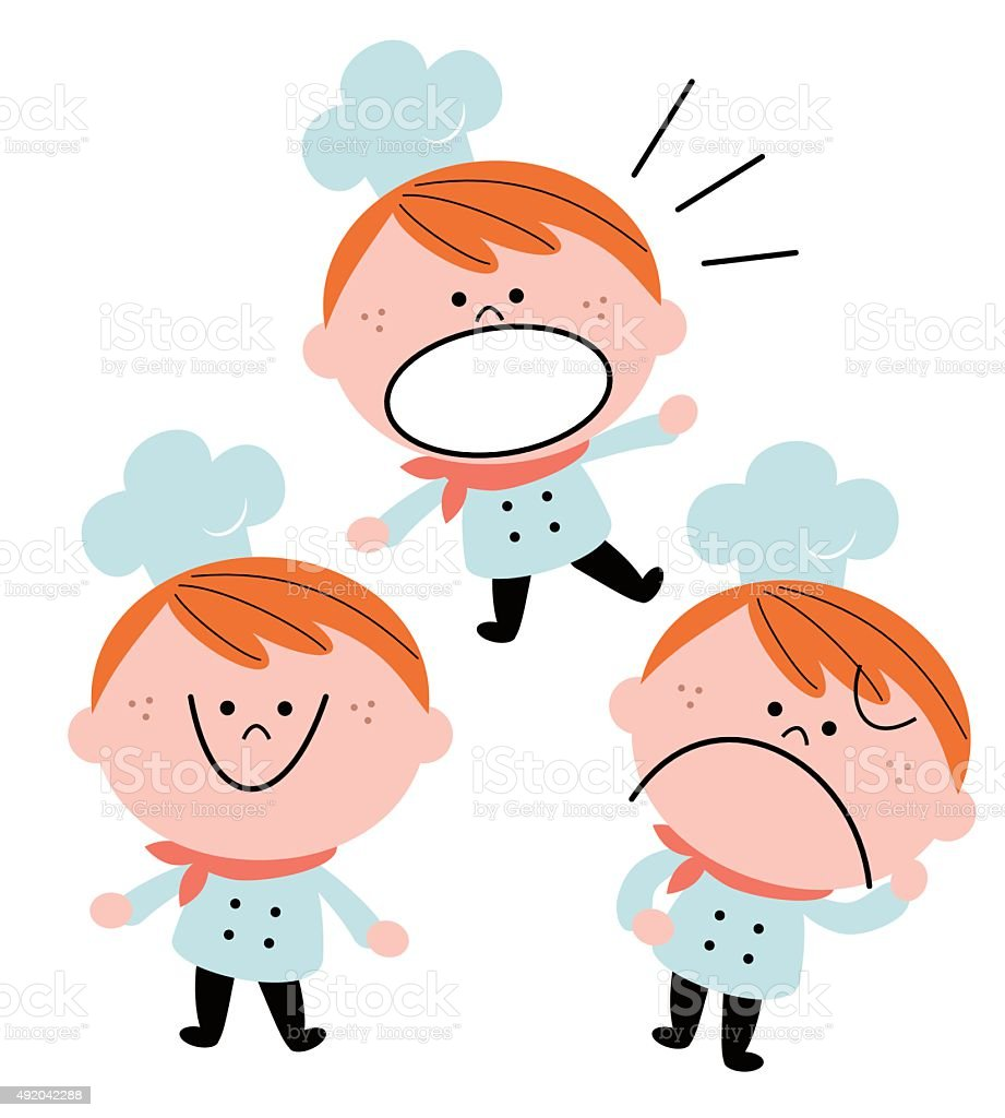 Little boy chef in uniform, emotion set, red hair vector art illustration