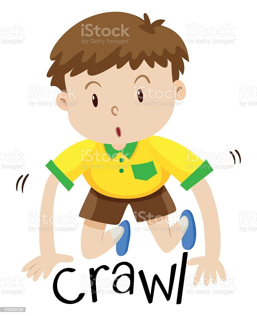 Little boy crawling on the floor vector art illustration