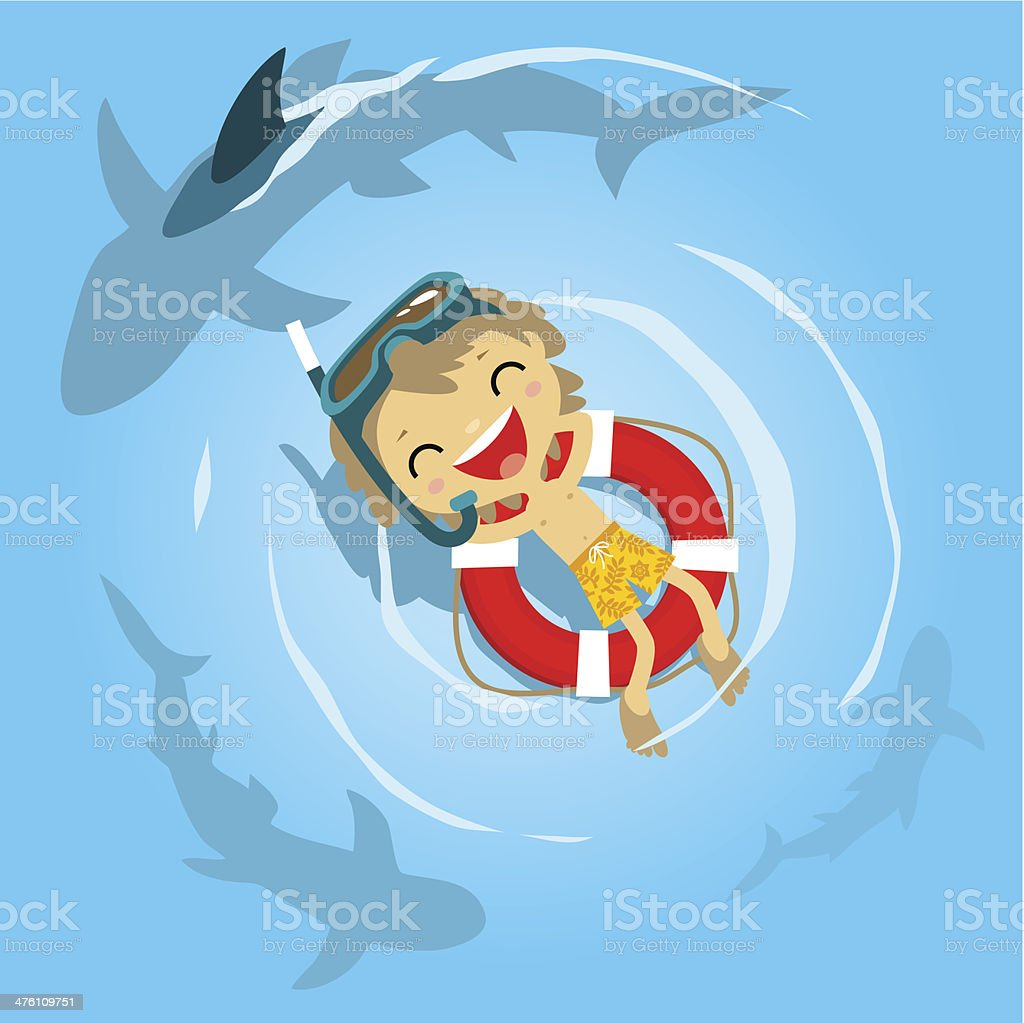 Little boy diver in danger vector art illustration