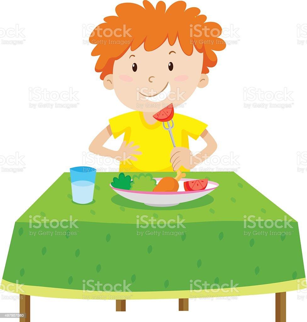 Little boy eating  table vector art illustration