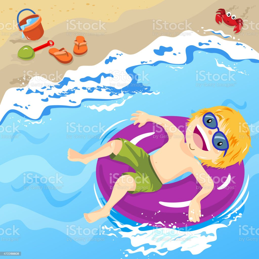 Little boy enjoying the summer beach vector art illustration