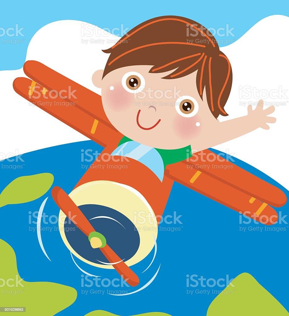 Little Boy flying an airplane vector art illustration
