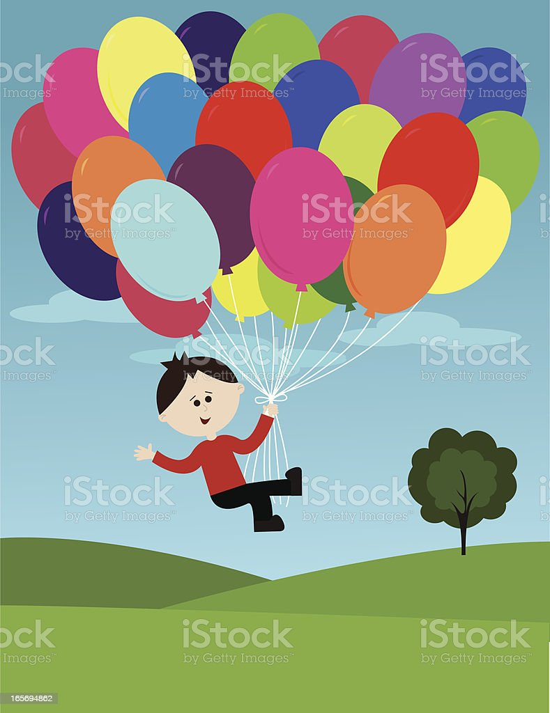 Little Boy Flying with Balloons royalty-free stock vector art