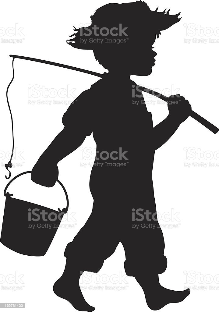 Little boy going fishing royalty-free stock vector art